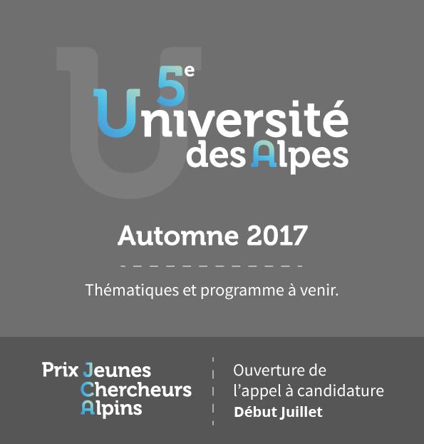 5ème Université des Alpes à l'Automne 2017. Thématiques et programme à venir.